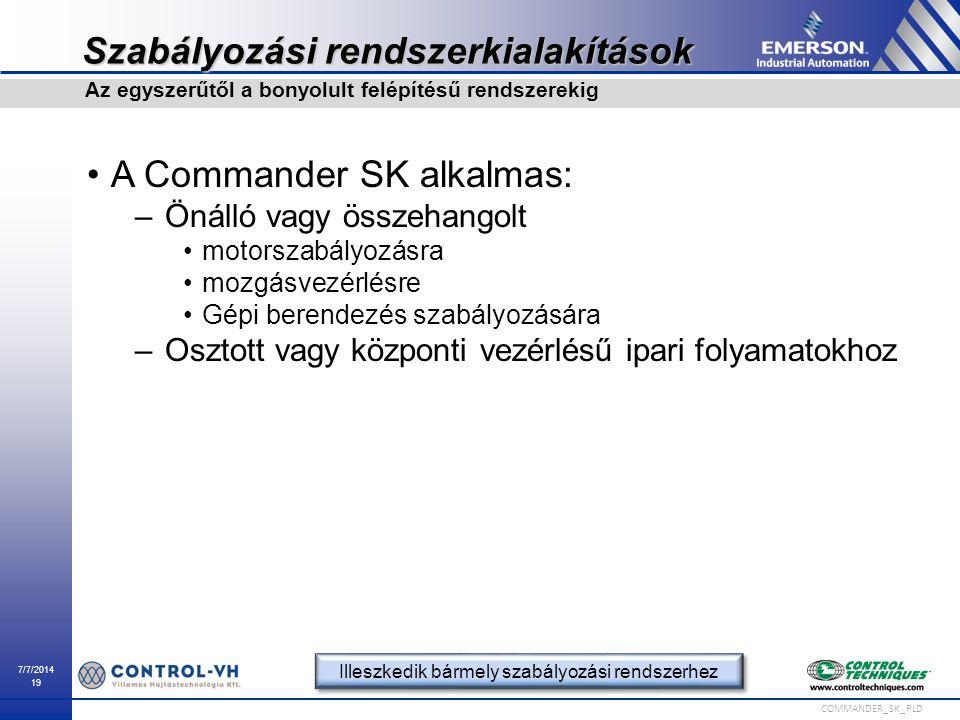7/7/2014 19 COMMANDER_SK_PLD Szabályozási rendszerkialakítások A Commander SK alkalmas: –Önálló vagy összehangolt motorszabályozásra mozgásvezérlésre