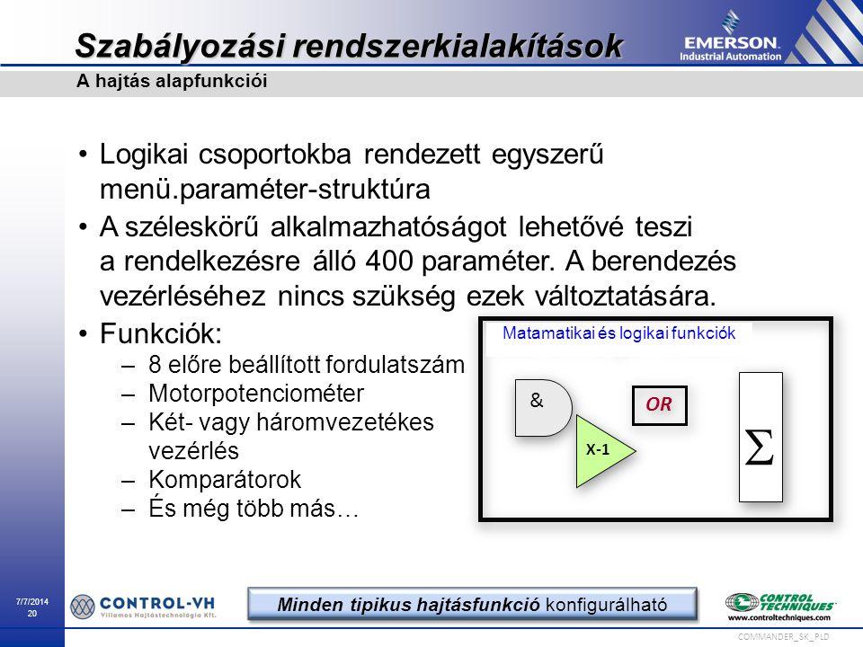 7/7/2014 20 COMMANDER_SK_PLD Szabályozási rendszerkialakítások Logikai csoportokba rendezett egyszerű menü.paraméter-struktúra A széleskörű alkalmazha