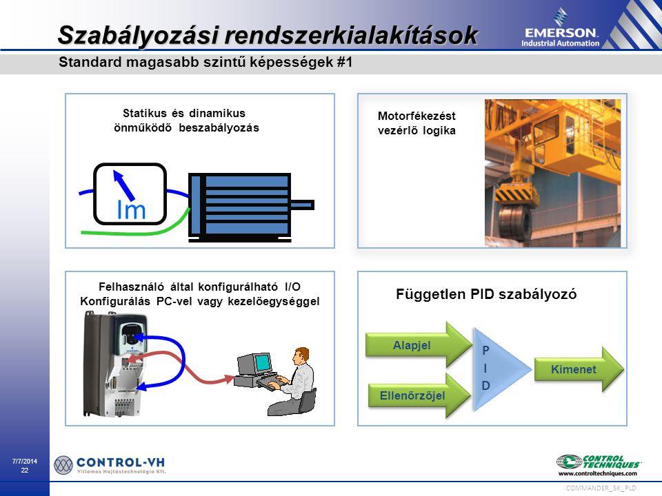 7/7/2014 22 COMMANDER_SK_PLD Im Statikus és dinamikus önműködő beszabályozás Felhasználó által konfigurálható I/O Konfigurálás PC-vel vagy kezelőegysé