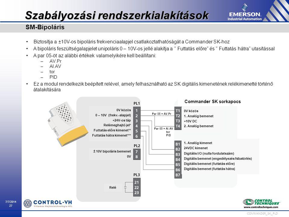 7/7/2014 27 COMMANDER_SK_PLD Szabályozási rendszerkialakítások Biztosítja a ±10V-os bipoláris frekvenciaalapjel csatlakoztathatóságát a Commander SK-h
