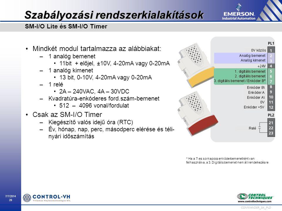 7/7/2014 28 COMMANDER_SK_PLD Szabályozási rendszerkialakítások Mindkét modul tartalmazza az alábbiakat: –1 analóg bemenet 11bit + előjel, ±10V, 4-20mA