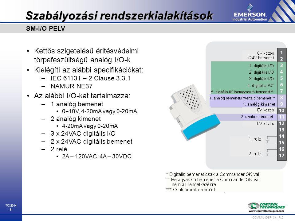 7/7/2014 31 COMMANDER_SK_PLD Szabályozási rendszerkialakítások Kettős szigetelésű éritésvédelmi törpefeszültségű analóg I/O-k Kielégíti az alábbi spec