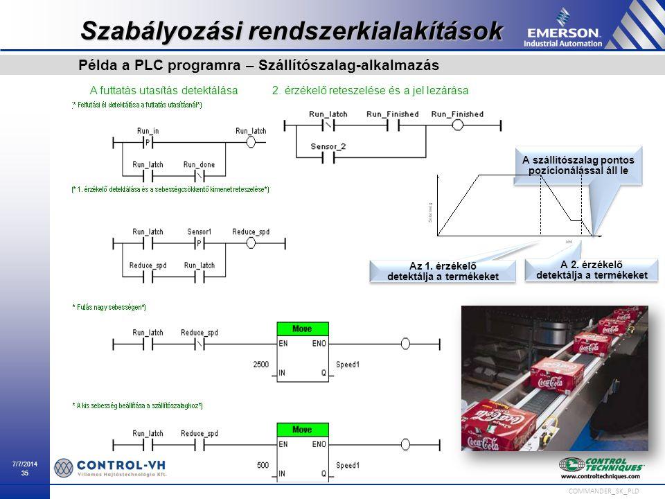7/7/2014 35 COMMANDER_SK_PLD A futtatás utasítás detektálása Az 1. érzékelő detektálja a termékeket A 2. érzékelő detektálja a termékeket A szállítósz