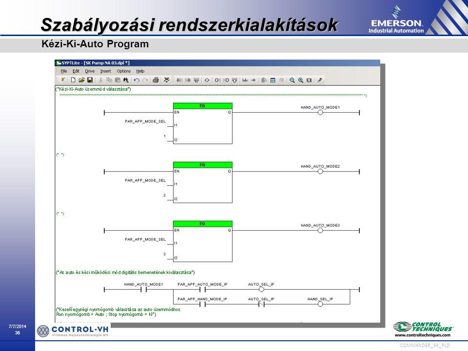 7/7/2014 36 COMMANDER_SK_PLD Szabályozási rendszerkialakítások Kézi-Ki-Auto Program