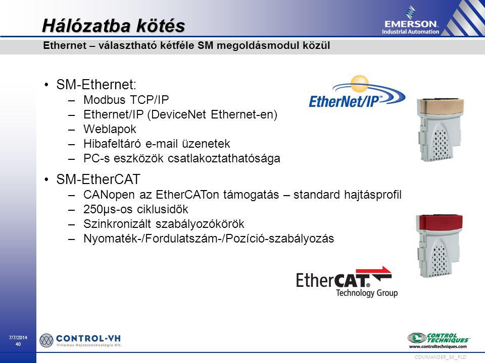 7/7/2014 40 COMMANDER_SK_PLD Hálózatba kötés SM-Ethernet: –Modbus TCP/IP –Ethernet/IP (DeviceNet Ethernet-en) –Weblapok –Hibafeltáró e-mail üzenetek –