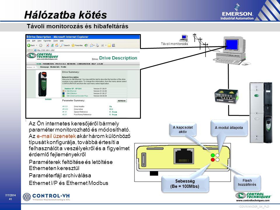 7/7/2014 41 COMMANDER_SK_PLD Hálózatba kötés Távoli monitorozás és hibafeltárás A kapcsolat aktív Sebesség (Be = 100Mbs) Sebesség (Be = 100Mbs) Flash