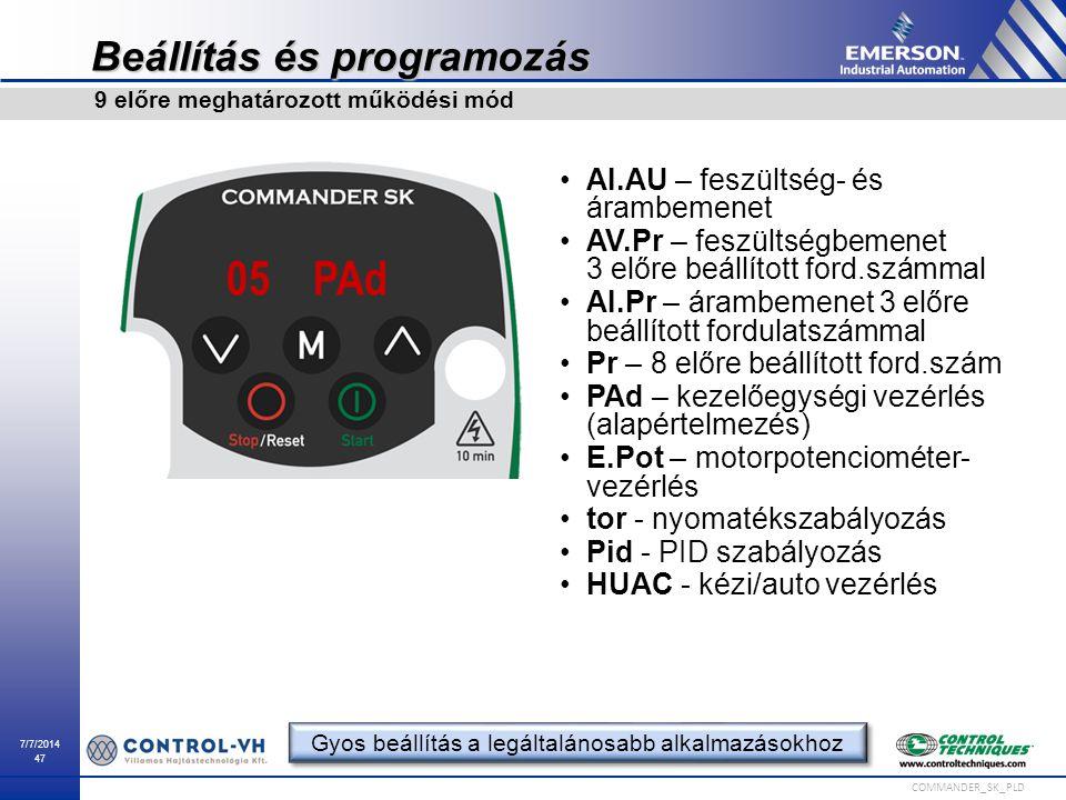 7/7/2014 47 COMMANDER_SK_PLD Beállítás és programozás AI.AU – feszültség- és árambemenet AV.Pr – feszültségbemenet 3 előre beállított ford.számmal AI.