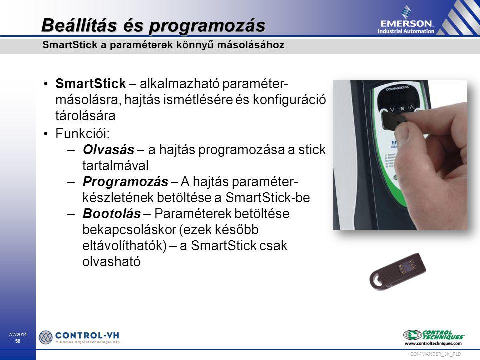 7/7/2014 56 COMMANDER_SK_PLD Beállítás és programozás SmartStick – alkalmazható paraméter- másolásra, hajtás ismétlésére és konfiguráció tárolására Fu