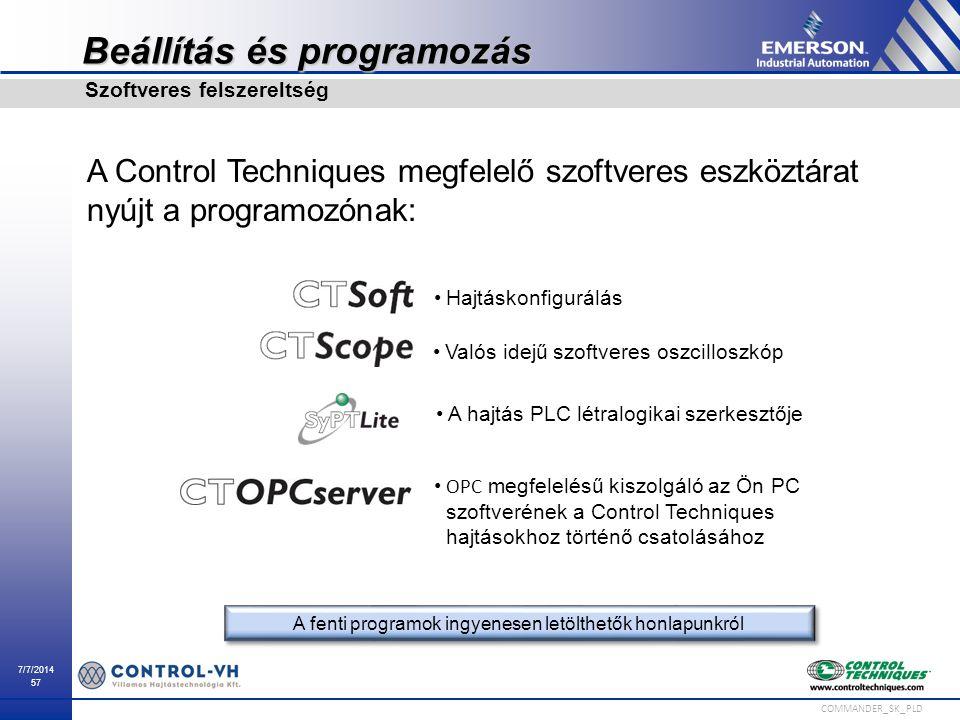 7/7/2014 57 COMMANDER_SK_PLD Beállítás és programozás A Control Techniques megfelelő szoftveres eszköztárat nyújt a programozónak: Szoftveres felszere