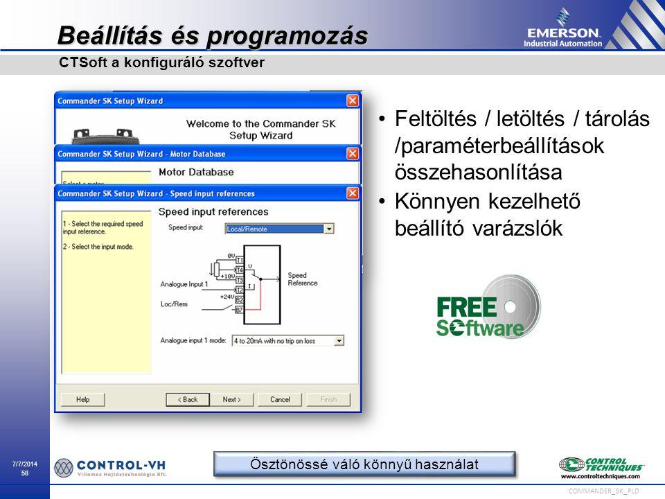7/7/2014 58 COMMANDER_SK_PLD Beállítás és programozás Feltöltés / letöltés / tárolás /paraméterbeállítások összehasonlítása Könnyen kezelhető beállító