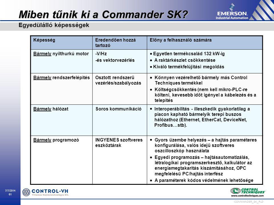 7/7/2014 61 COMMANDER_SK_PLD Miben tűnik ki a Commander SK? Egyedülálló képességek KépességEredendően hozzá tartozó Előny a felhasználó számára Bármel