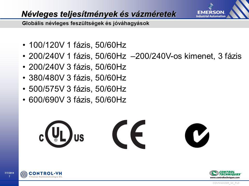 7/7/2014 7 COMMANDER_SK_PLD Névleges teljesítmények és vázméretek 100/120V 1 fázis, 50/60Hz 200/240V 1 fázis, 50/60Hz –200/240V-os kimenet, 3 fázis 20