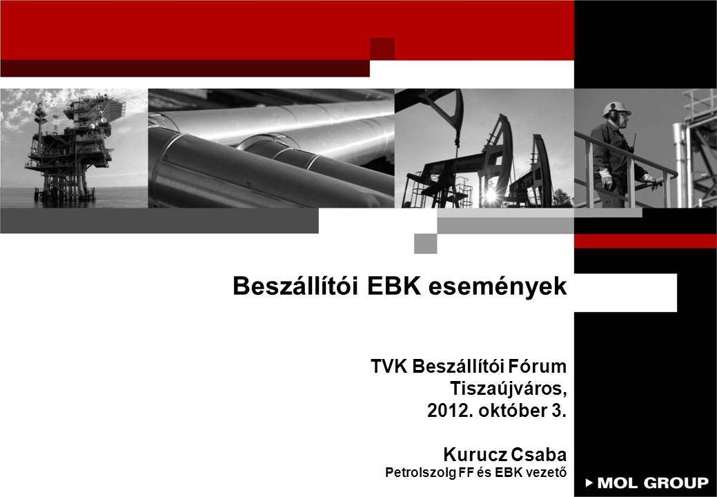 Beszállítói EBK események TVK Beszállítói Fórum Tiszaújváros, 2012. október 3. Kurucz Csaba Petrolszolg FF és EBK vezető