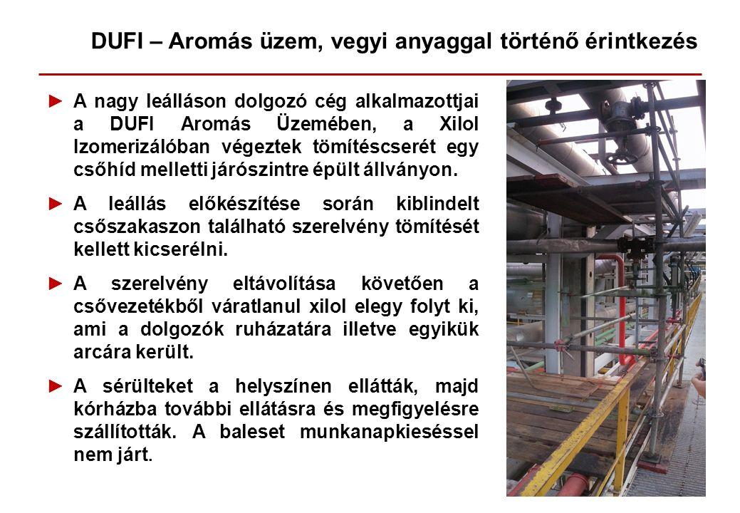 ►A nagy leálláson dolgozó cég alkalmazottjai a DUFI Aromás Üzemében, a Xilol Izomerizálóban végeztek tömítéscserét egy csőhíd melletti járószintre épü