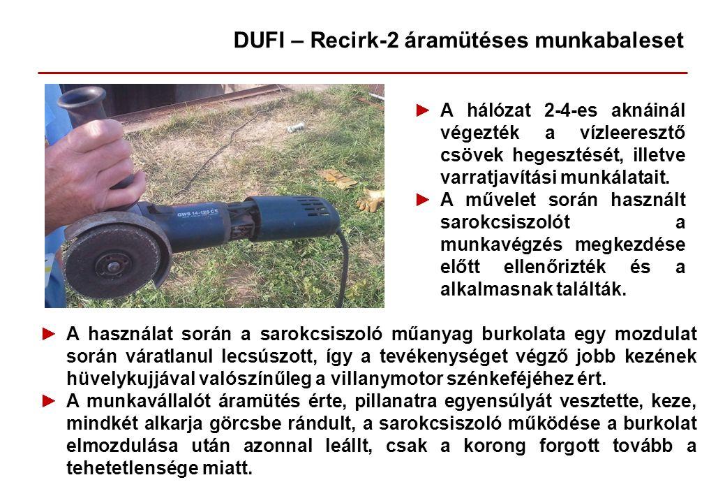►A hálózat 2-4-es aknáinál végezték a vízleeresztő csövek hegesztését, illetve varratjavítási munkálatait. ►A művelet során használt sarokcsiszolót a