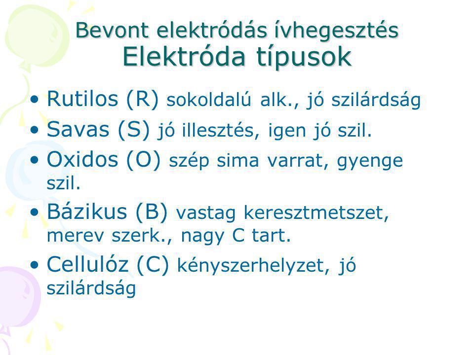 Bevont elektródás ívhegesztés Elektróda típusok Rutilos (R) sokoldalú alk., jó szilárdság Savas (S) jó illesztés, igen jó szil. Oxidos (O) szép sima v