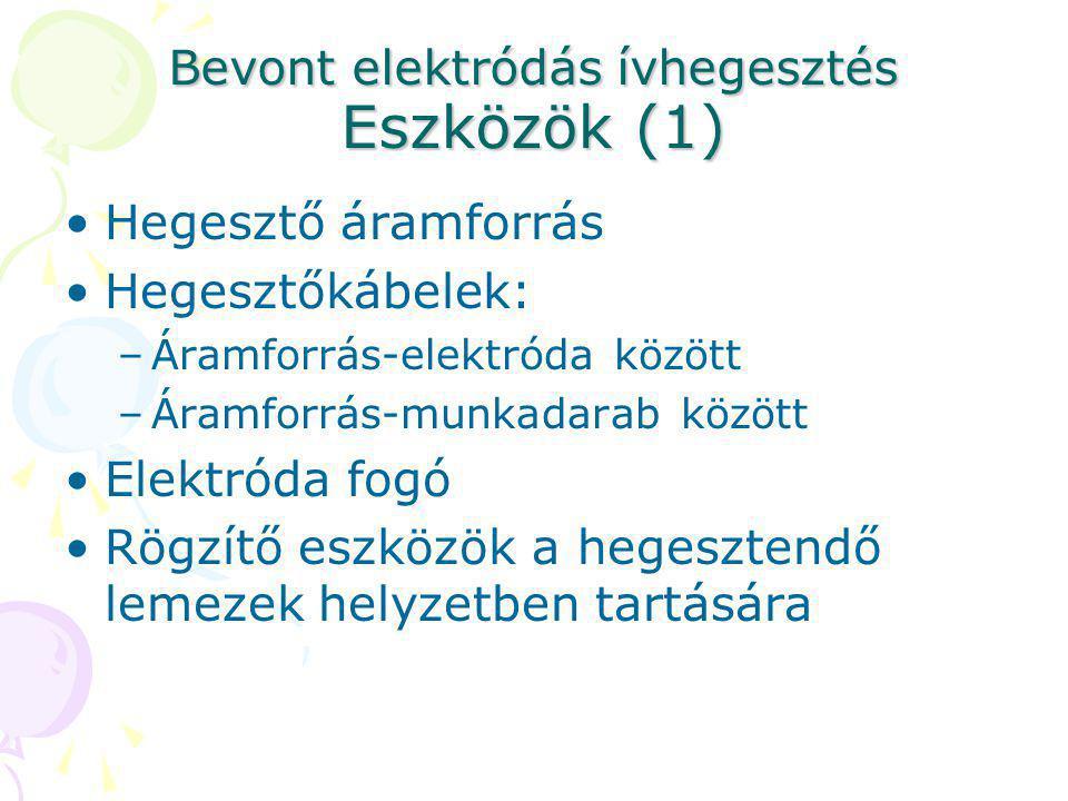 Bevont elektródás ívhegesztés Eszközök (1) Hegesztő áramforrás Hegesztőkábelek: –Áramforrás-elektróda között –Áramforrás-munkadarab között Elektróda f