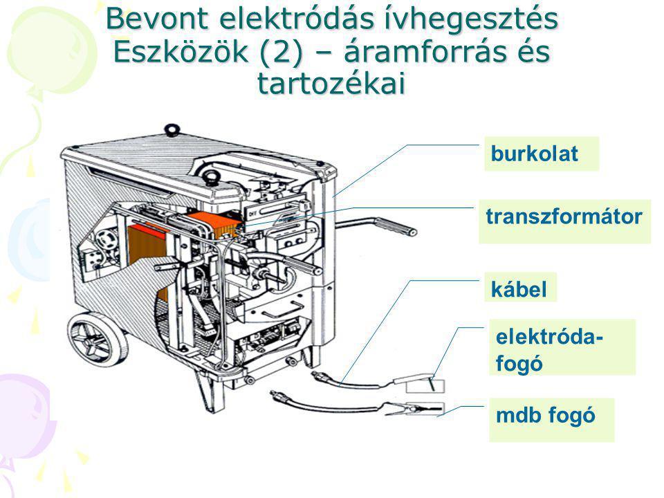 Bevont elektródás ívhegesztés Eszközök (2) – áramforrás és tartozékai burkolat transzformátor kábel elektróda- fogó mdb fogó