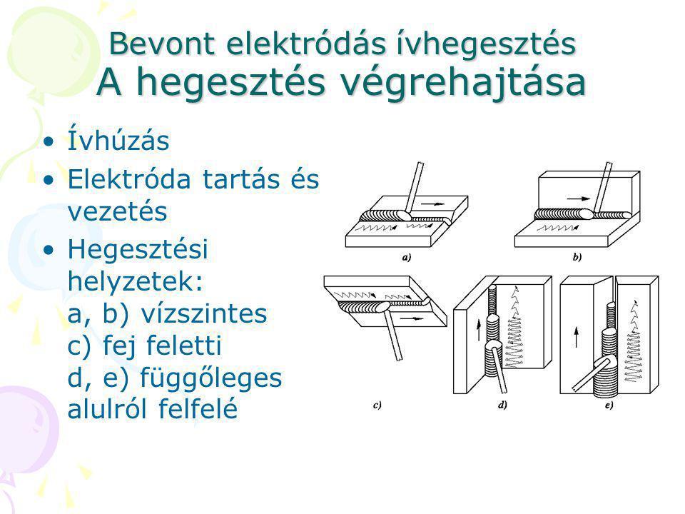 Bevont elektródás ívhegesztés A hegesztés végrehajtása Ívhúzás Elektróda tartás és vezetés Hegesztési helyzetek: a, b) vízszintes c) fej feletti d, e)