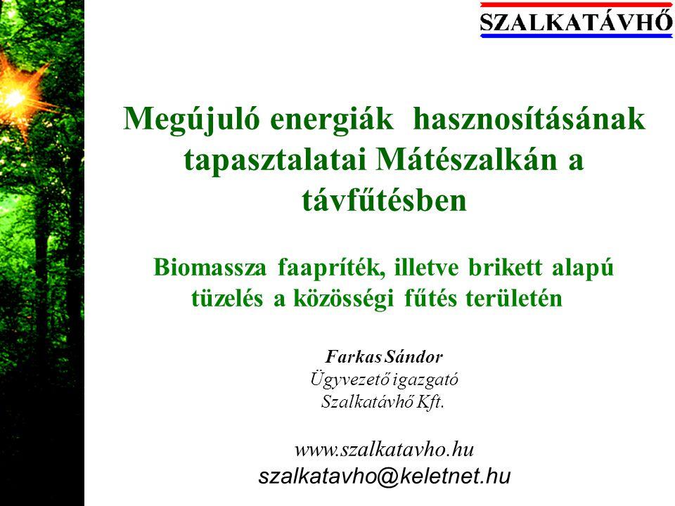 A Szalkatávhő rövid bemutatása Távhőtermelés és szolgáltatás,kapcsolt energiatermelés és zöld hőtermelés hőbázisról Jms 612 gyártmányú gázmotor 1,46MWe –1,7 MWt 1,7+2,6+2*4,5 MW gázkazán (Viessman+ Riello) Megújuló energia, 5 MW Biomassza kazán faaprítékra, majd brikketre állítva 26 db elosztó hőközpont, 5 km távfűtési hálózat 1705 db lakás és 800 db lakás egyenérték egyéb fogyasztó 650 000 eFt.