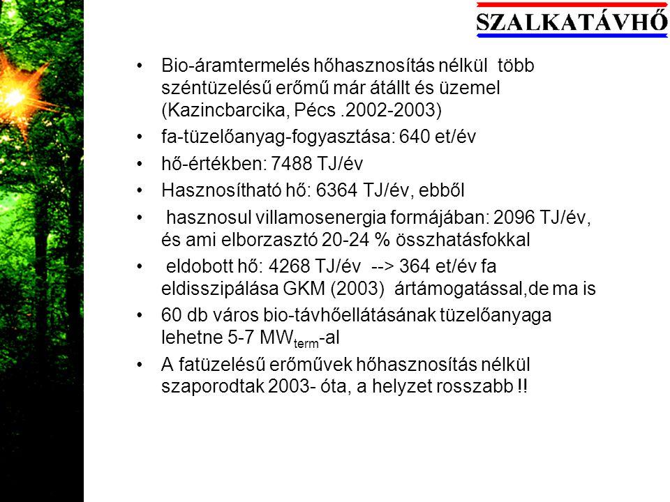 Bio-áramtermelés hőhasznosítás nélkül több széntüzelésű erőmű már átállt és üzemel (Kazincbarcika, Pécs.2002-2003) fa-tüzelőanyag-fogyasztása: 640 et/