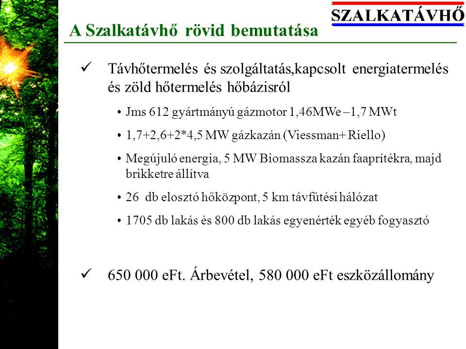A Szalkatávhő rövid bemutatása Távhőtermelés és szolgáltatás,kapcsolt energiatermelés és zöld hőtermelés hőbázisról Jms 612 gyártmányú gázmotor 1,46MW