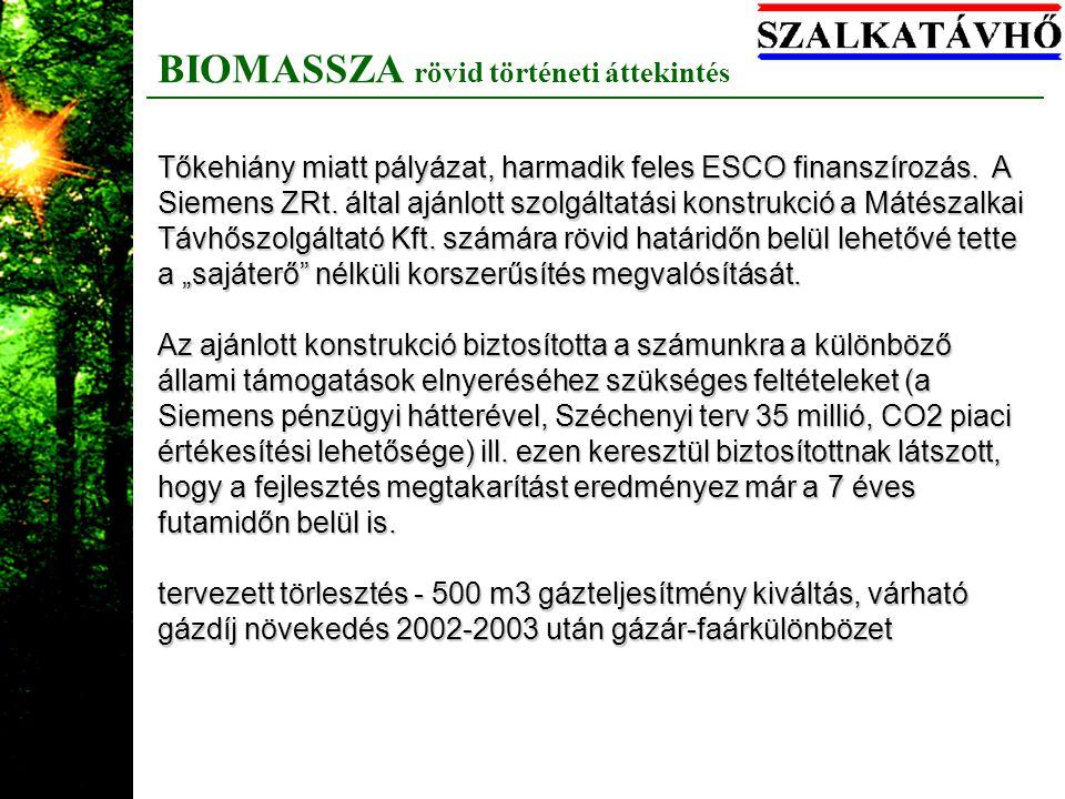 BIOMASSZA rövid történeti áttekintés Tőkehiány miatt pályázat, harmadik feles ESCO finanszírozás. A Siemens ZRt. által ajánlott szolgáltatási konstruk
