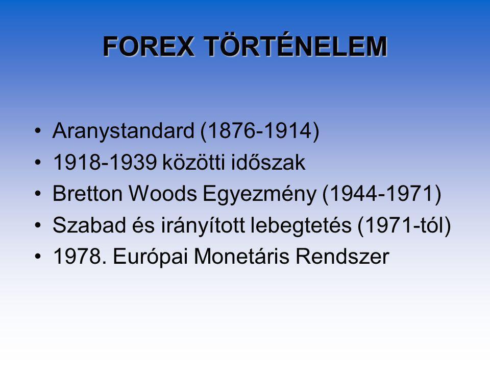 FOREX TÖRTÉNELEM Aranystandard (1876-1914) 1918-1939 közötti időszak Bretton Woods Egyezmény (1944-1971) Szabad és irányított lebegtetés (1971-tól) 1978.