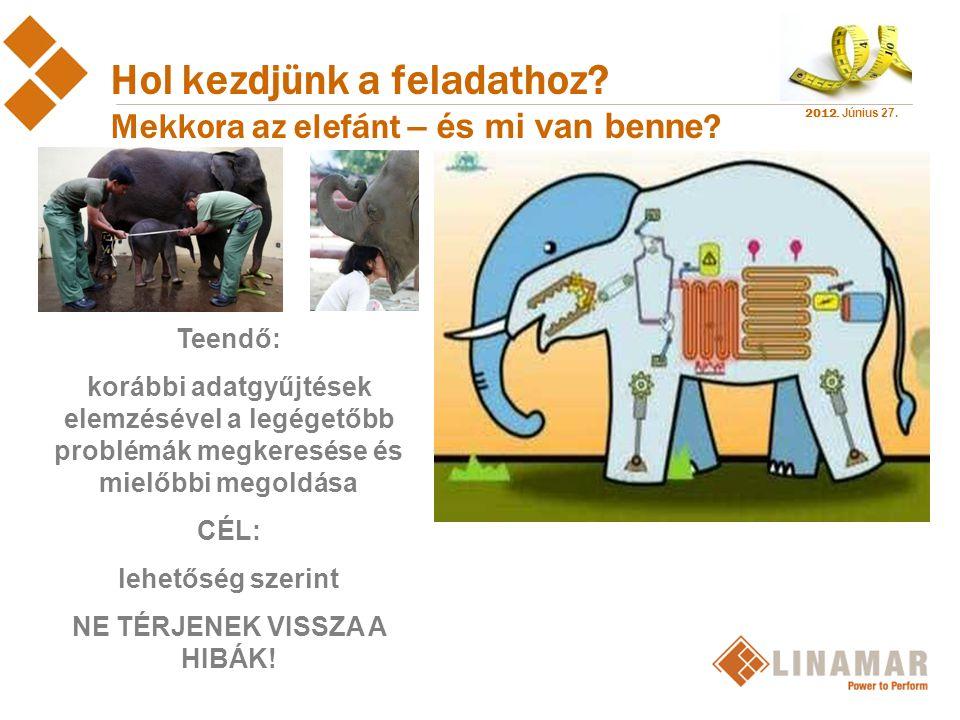 2012. Június 27. Hol kezdjünk a feladathoz? Mekkora az elefánt – és mi van benne ? Teendő: korábbi adatgyűjtések elemzésével a legégetőbb problémák me