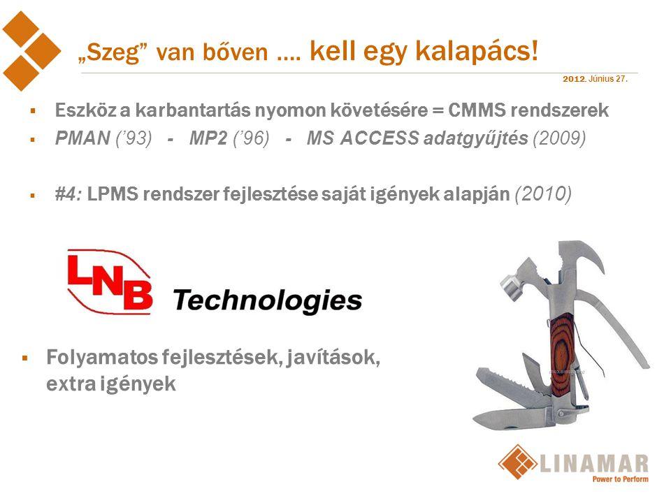 """2012. Június 27. """"Szeg"""" van bőven …. kell egy kalapács!  Eszköz a karbantartás nyomon követésére = CMMS rendszerek  PMAN ('93) - MP2 ('96) - MS ACCE"""