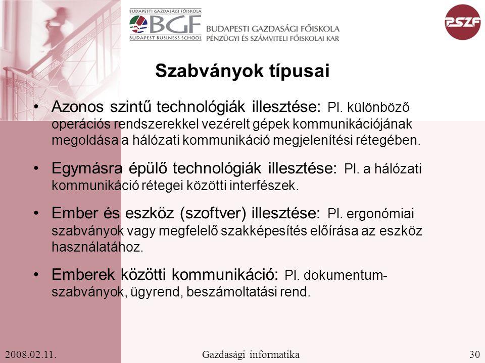 30Gazdasági informatika2008.02.11.Szabványok típusai Azonos szintű technológiák illesztése: Pl.