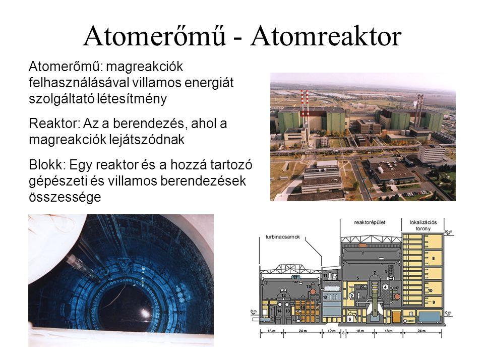 Atomerőmű - Atomreaktor Atomerőmű: magreakciók felhasználásával villamos energiát szolgáltató létesítmény Reaktor: Az a berendezés, ahol a magreakciók