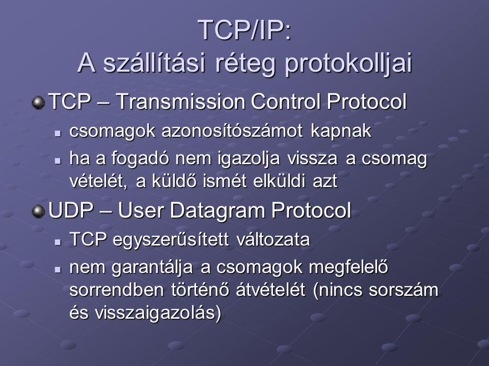 TCP/IP: A szállítási réteg protokolljai TCP – Transmission Control Protocol csomagok azonosítószámot kapnak csomagok azonosítószámot kapnak ha a fogad