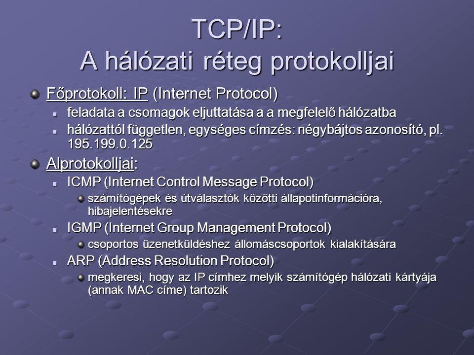 TCP/IP: A hálózati réteg protokolljai Főprotokoll: IP (Internet Protocol) feladata a csomagok eljuttatása a a megfelelő hálózatba feladata a csomagok