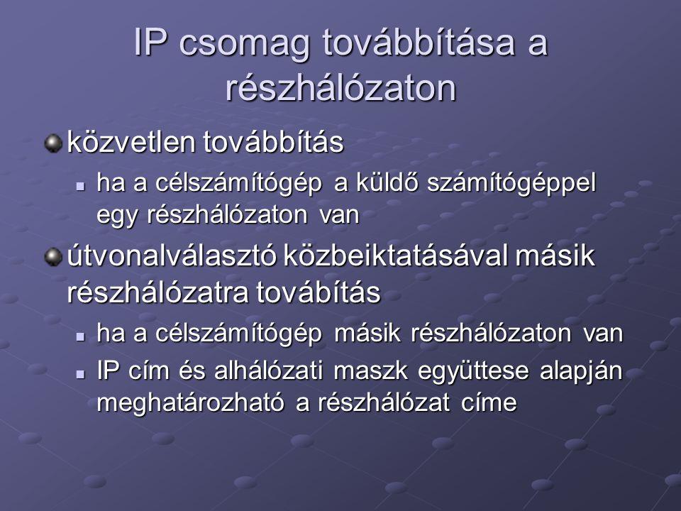 IP csomag továbbítása a részhálózaton közvetlen továbbítás ha a célszámítógép a küldő számítógéppel egy részhálózaton van ha a célszámítógép a küldő s