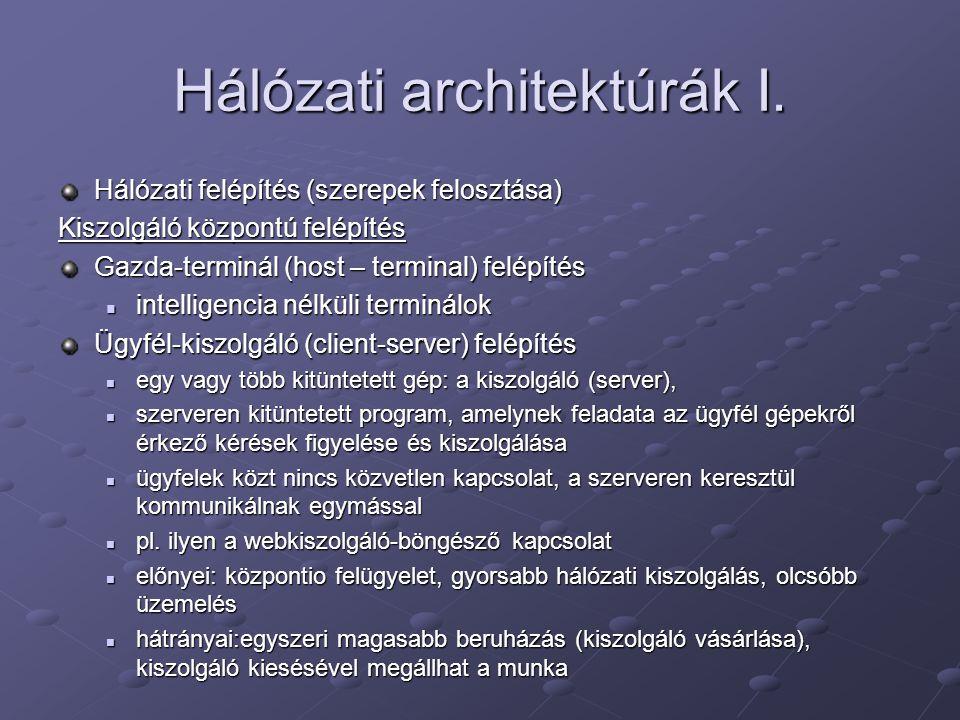 Hálózati architektúrák I. Hálózati felépítés (szerepek felosztása) Kiszolgáló központú felépítés Gazda-terminál (host – terminal) felépítés intelligen