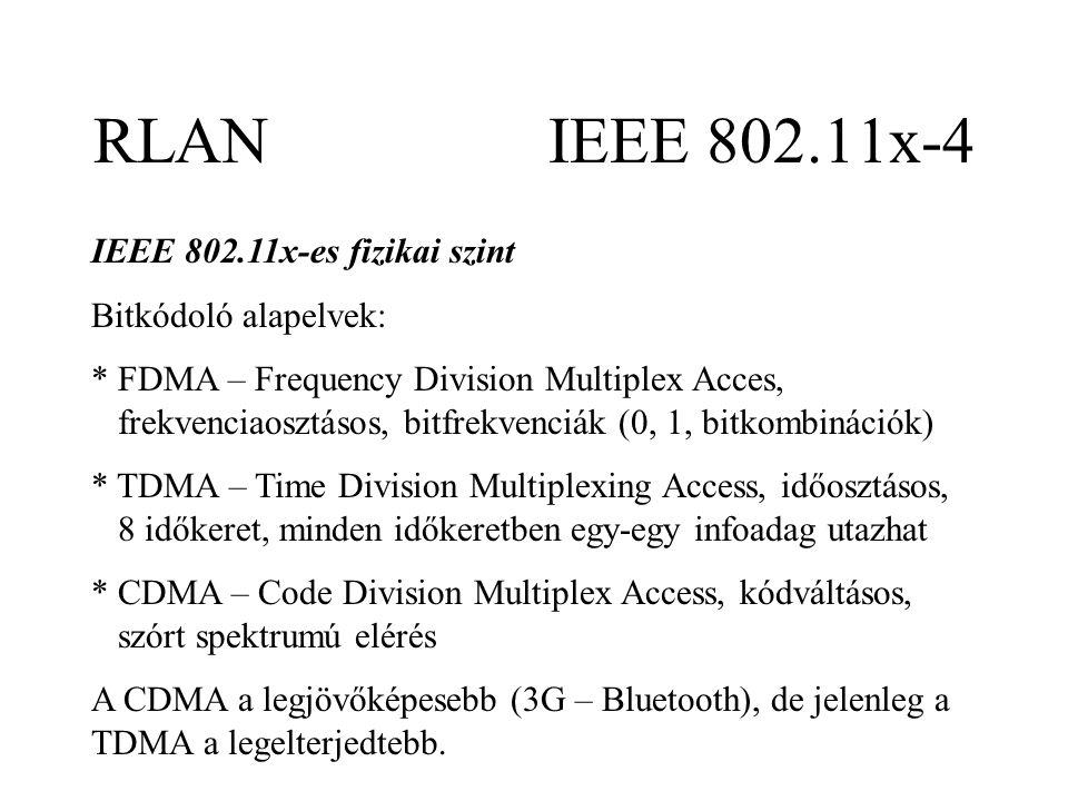 RLAN IEEE 802.11x-4 IEEE 802.11x-es fizikai szint Bitkódoló alapelvek: * FDMA – Frequency Division Multiplex Acces, frekvenciaosztásos, bitfrekvenciák (0, 1, bitkombinációk) * TDMA – Time Division Multiplexing Access, időosztásos, 8 időkeret, minden időkeretben egy-egy infoadag utazhat * CDMA – Code Division Multiplex Access, kódváltásos, szórt spektrumú elérés A CDMA a legjövőképesebb (3G – Bluetooth), de jelenleg a TDMA a legelterjedtebb.