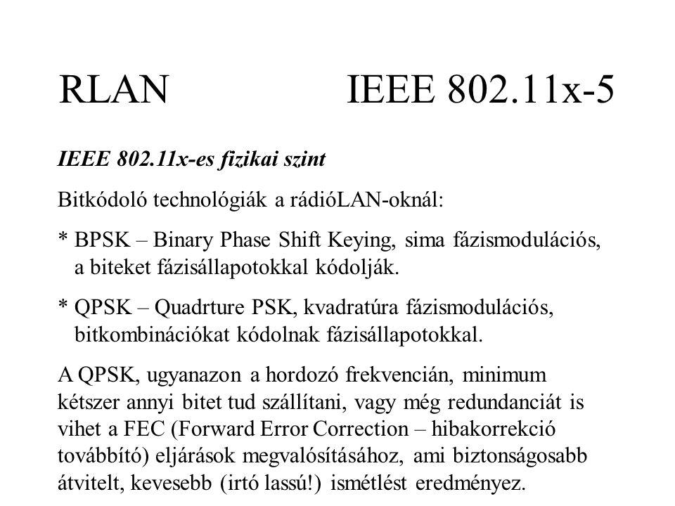 RLAN IEEE 802.11x-5 IEEE 802.11x-es fizikai szint Bitkódoló technológiák a rádióLAN-oknál: * BPSK – Binary Phase Shift Keying, sima fázismodulációs, a biteket fázisállapotokkal kódolják.