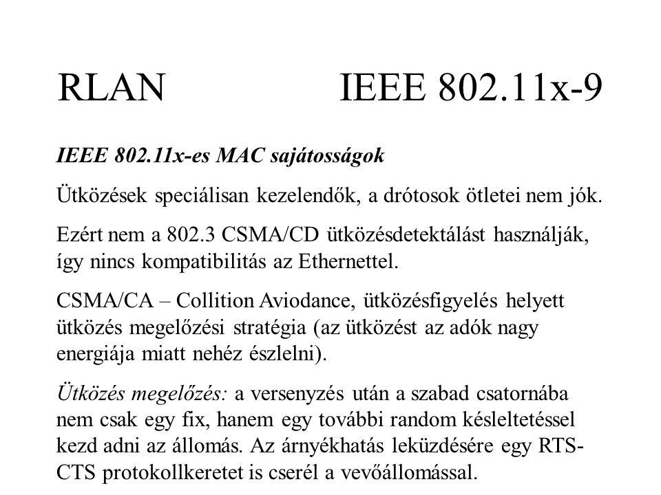 RLAN IEEE 802.11x-9 IEEE 802.11x-es MAC sajátosságok Ütközések speciálisan kezelendők, a drótosok ötletei nem jók.