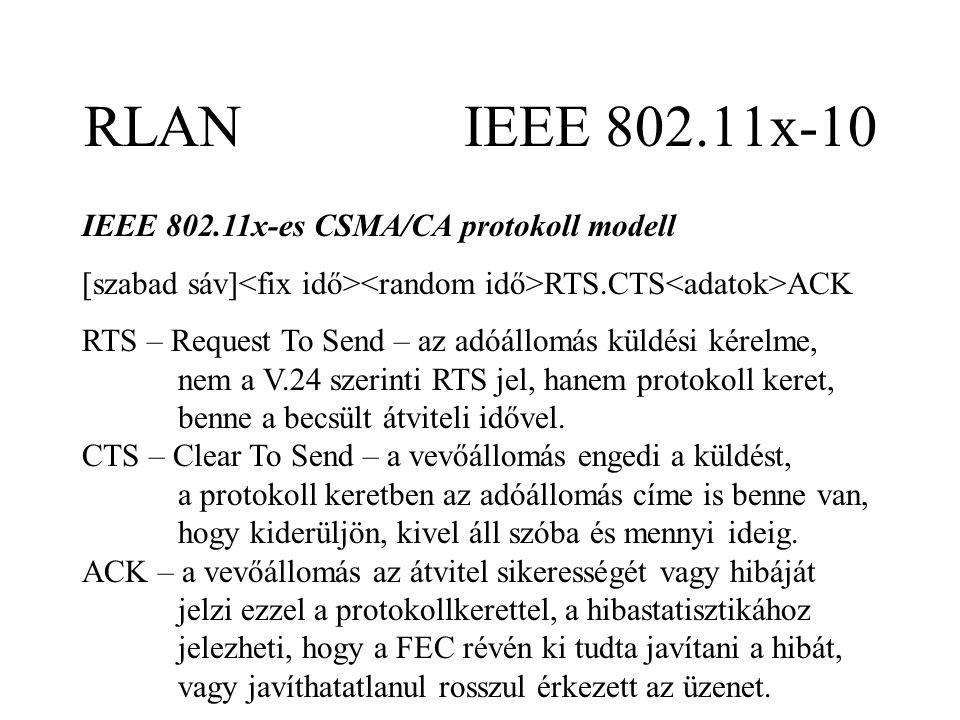 RLAN IEEE 802.11x-10 IEEE 802.11x-es CSMA/CA protokoll modell [szabad sáv] RTS.CTS ACK RTS – Request To Send – az adóállomás küldési kérelme, nem a V.24 szerinti RTS jel, hanem protokoll keret, benne a becsült átviteli idővel.