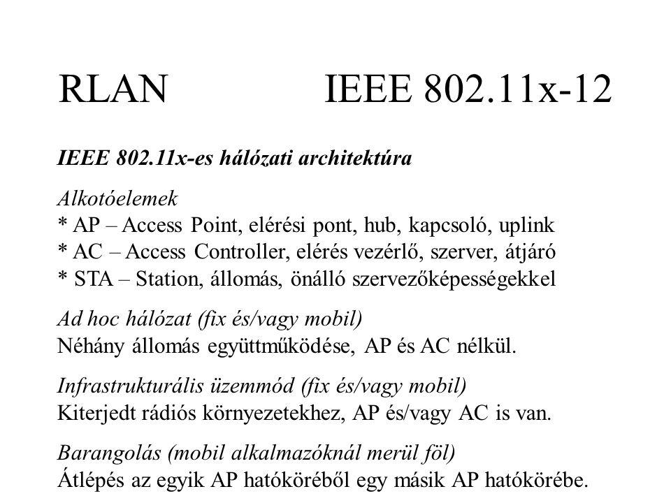 RLAN IEEE 802.11x-12 IEEE 802.11x-es hálózati architektúra Alkotóelemek * AP – Access Point, elérési pont, hub, kapcsoló, uplink * AC – Access Controller, elérés vezérlő, szerver, átjáró * STA – Station, állomás, önálló szervezőképességekkel Ad hoc hálózat (fix és/vagy mobil) Néhány állomás együttműködése, AP és AC nélkül.