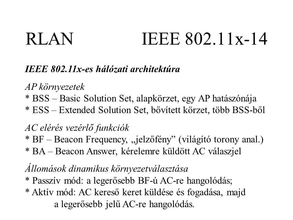"""RLAN IEEE 802.11x-14 IEEE 802.11x-es hálózati architektúra AP környezetek * BSS – Basic Solution Set, alapkörzet, egy AP hatászónája * ESS – Extended Solution Set, bővített körzet, több BSS-ből AC elérés vezérlő funkciók * BF – Beacon Frequency, """"jelzőfény (világító torony anal.) * BA – Beacon Answer, kérelemre küldött AC válaszjel Állomások dinamikus környezetválasztása * Passzív mód: a legerősebb BF-ú AC-re hangolódás; * Aktív mód: AC kereső keret küldése és fogadása, majd a legerősebb jelű AC-re hangolódás."""