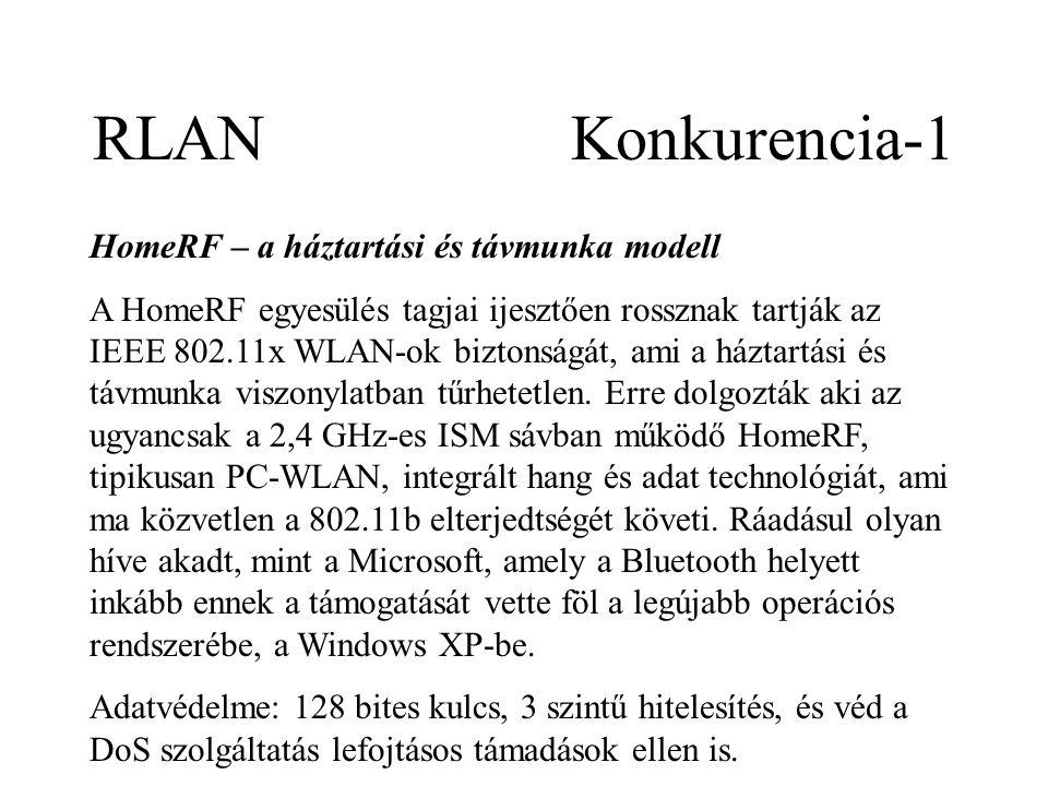 RLAN Konkurencia-1 HomeRF – a háztartási és távmunka modell A HomeRF egyesülés tagjai ijesztően rossznak tartják az IEEE 802.11x WLAN-ok biztonságát, ami a háztartási és távmunka viszonylatban tűrhetetlen.