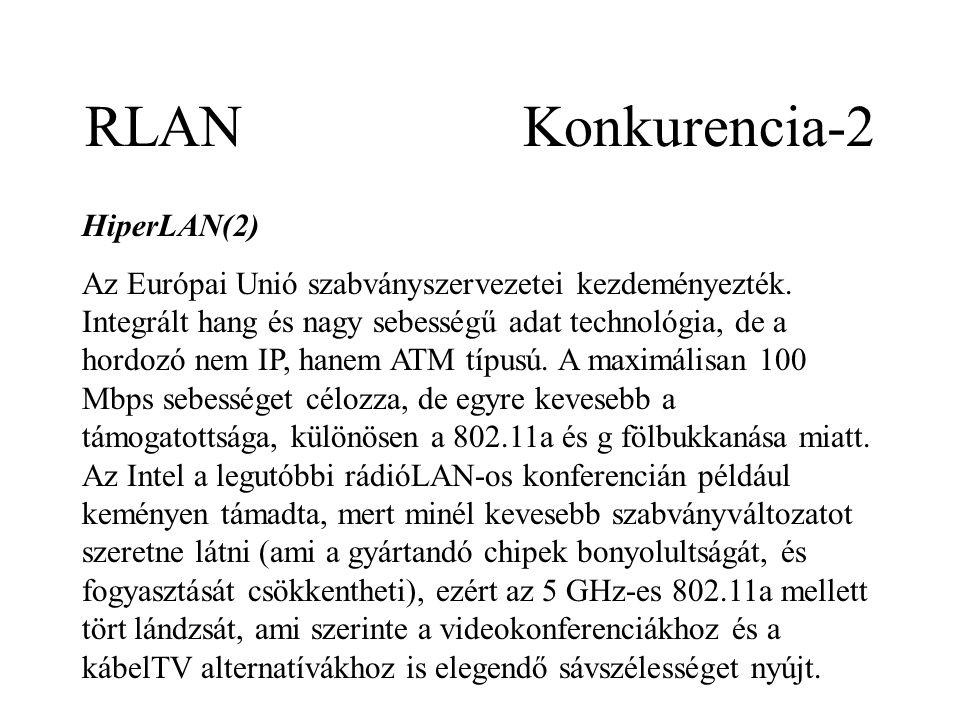 RLAN Konkurencia-2 HiperLAN(2) Az Európai Unió szabványszervezetei kezdeményezték.