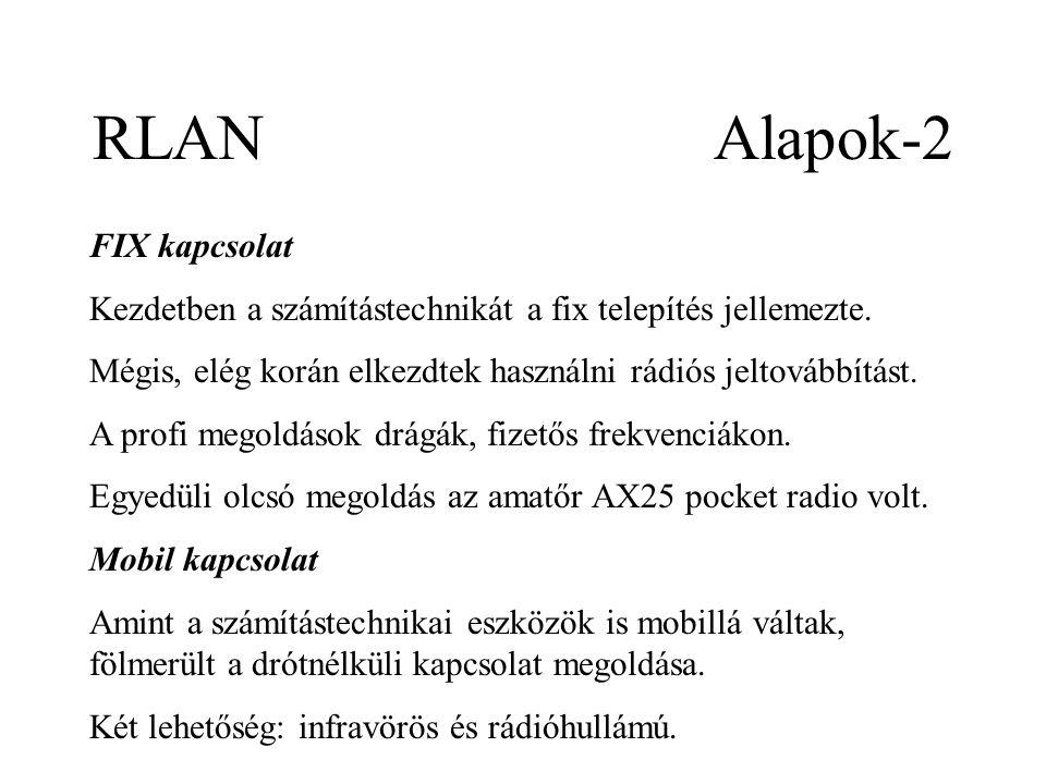RLAN Alapok-2 FIX kapcsolat Kezdetben a számítástechnikát a fix telepítés jellemezte.