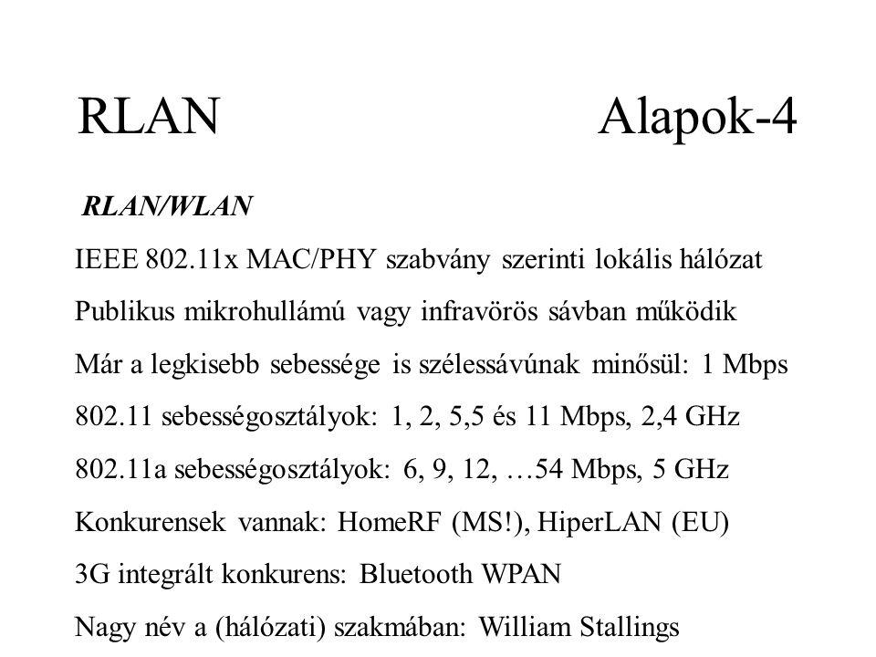 RLAN Alapok-4 RLAN/WLAN IEEE 802.11x MAC/PHY szabvány szerinti lokális hálózat Publikus mikrohullámú vagy infravörös sávban működik Már a legkisebb sebessége is szélessávúnak minősül: 1 Mbps 802.11 sebességosztályok: 1, 2, 5,5 és 11 Mbps, 2,4 GHz 802.11a sebességosztályok: 6, 9, 12, …54 Mbps, 5 GHz Konkurensek vannak: HomeRF (MS!), HiperLAN (EU) 3G integrált konkurens: Bluetooth WPAN Nagy név a (hálózati) szakmában: William Stallings