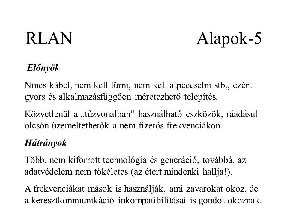 RLAN Alapok-5 Előnyök Nincs kábel, nem kell fúrni, nem kell átpeccselni stb., ezért gyors és alkalmazásfüggően méretezhető telepítés.