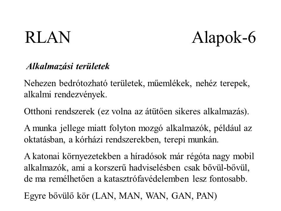 RLAN Alapok-6 Alkalmazási területek Nehezen bedrótozható területek, műemlékek, nehéz terepek, alkalmi rendezvények.
