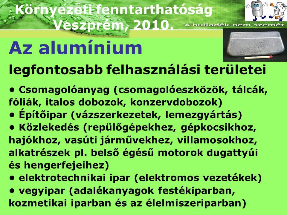 Környezeti fenntarthatóság Veszprém, 2010. Az alumínium legfontosabb felhasználási területei Csomagolóanyag (csomagolóeszközök, tálcák, fóliák, italos