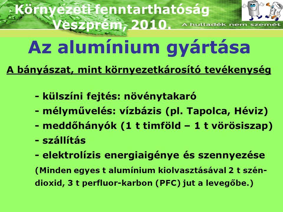 Környezeti fenntarthatóság Veszprém, 2010. Az alumínium gyártása A bányászat, mint környezetkárosító tevékenység - külszíni fejtés: növénytakaró - mél